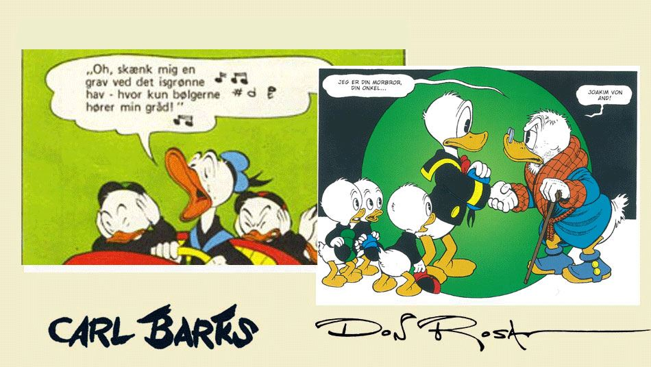 (tv) Carl Barks' 'Den hulkende sømand' - 1953. (th) Don Rosas 'Eneboren i Andeby' - 1997.