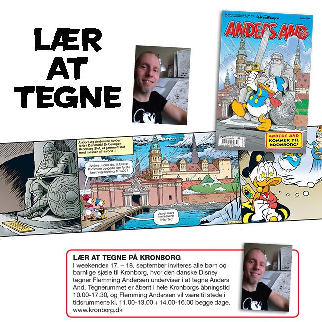Lær at tegne Anders And på Kronborg Slot