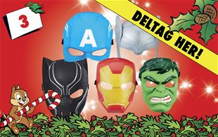 3. december • Vind Marvel Avengers hero-maske